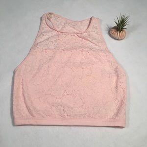 NWT Gilly Hicks Pink lace crop top Sz Medium M